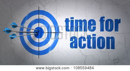 Timeline concept: target and Time for Action on wall background