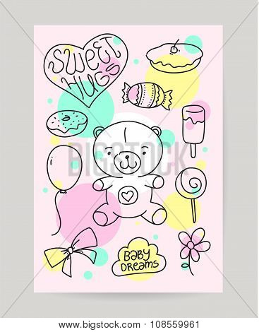 KId's hand drawn greeting card design with doodle teddy bear, sweet food, gift, baloon. Useful for h