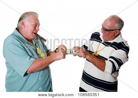 Two men fight over that last dollar in a tug of war to see who will end up with it. isolated on white with room for your text.