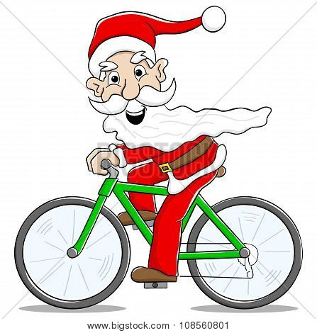 Santa Claus On Bicycle Delivering Christmas Gifts