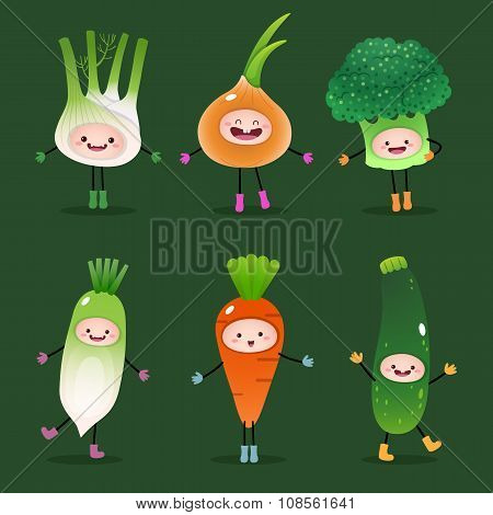 Collection Of Cartoon Vegetables