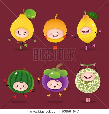 Collection Of Cartoon Fruits