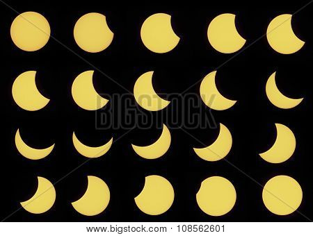 Twenty phases of partial solar eclipse seen on 20th March 2015 in the Czech Republic. Set of real photos using a special astro filter.