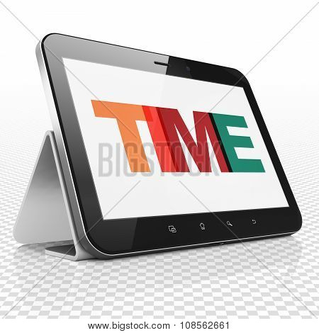 Time concept: Tablet Computer with Time on  display