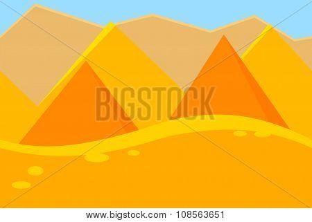 Cartoon Landscape of Desert Pyramids for Game
