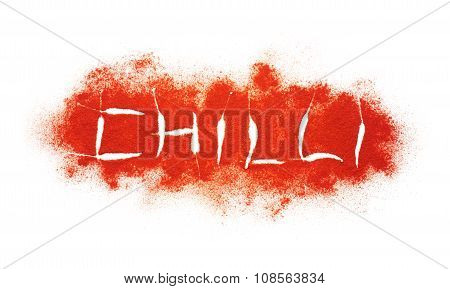 Writing Of Chilli Word On Chilli Powder Burst