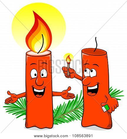 Cartoon Of A Christmas Candle That Ignites Another Candle