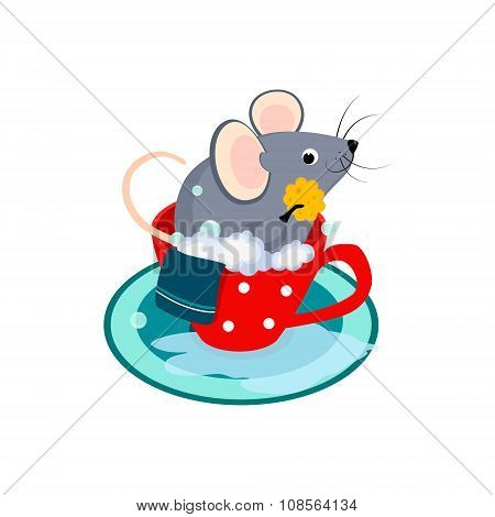 Cute Cartoon Mouse in the Bath of Cup. Vector Illustration