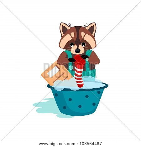 Raccoon Washes Clothes on the Washboard. Vector Illustration