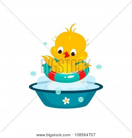 Cute Duckling in Bathroom. Vector Illustration
