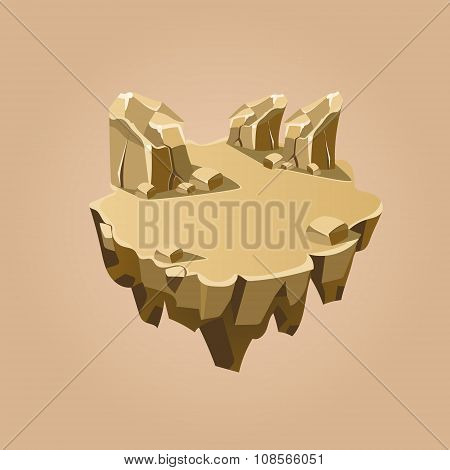 Cartoon Stone Isometric Island for Game, Vector Illustration