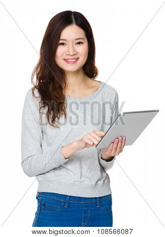 Woman use of the tablet pc