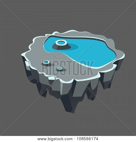Cartoon Stone Isometric Island with Waterfall and Cliff for Game, Vector Illustration