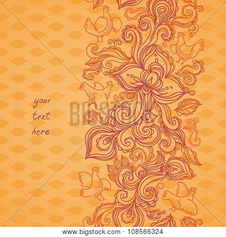 Outline Floral Seamless Border With Flowers.