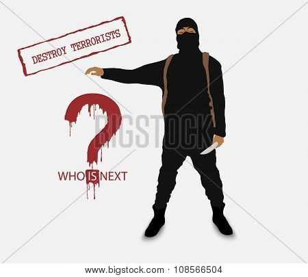 terrorist with a knife in uniform