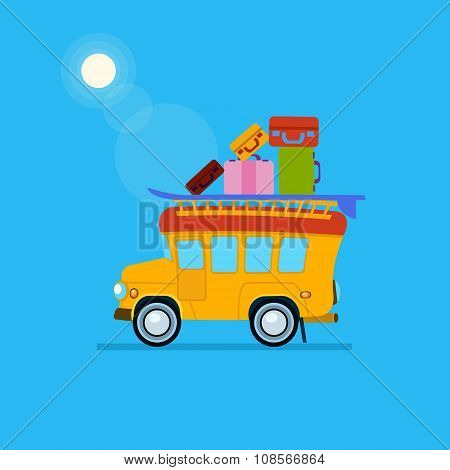Yellow Car Side View With Heap Of Luggage. Vector Illustration