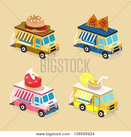 Food Truck Designs. Collection of Vector Icons.