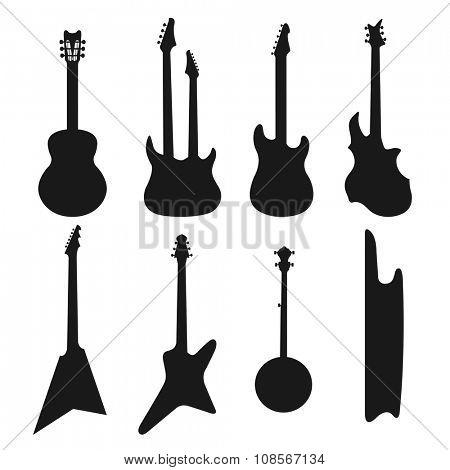 Acoustic, and electric guitars black and white icons vector set. Guitar isolated icons vector illustration. Black guitars icons isolated on white background. Guitars vector silhouette. Music, concert