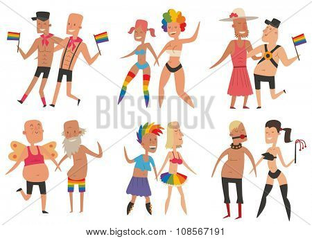 Homosexual gay and lesbian people vector set. Homosexual marriage man and woman couples. Gay. lesbian couple. Gay, lesbian family vector flat illustration. Homosexual couples colors free love. Gay