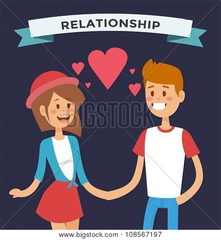 Boy and girl happy family couple in love Women and men in love, modern family. Young couple celebrate wedding or valentine day. Modern family portrait. Typical family. People couple love