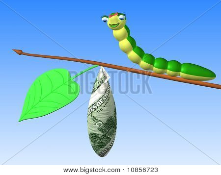 The three-dimensional cartoon image of a caterpillar sitting on twig with a cocoon. download preview