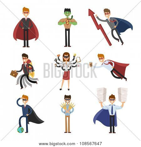 Superhero business man and business woman vector set. Super people in business illustration. Super hero in business situations, super hero in offfice life. Superhero flying, business success