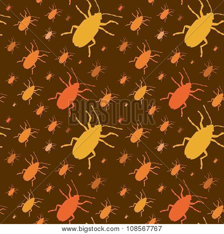 Colorful insects vector seamless pattern background. Insects biology natural isolated seamless background. Insects isolated illustration. Insects vector icons. Fly insects micro view vector. Bugs