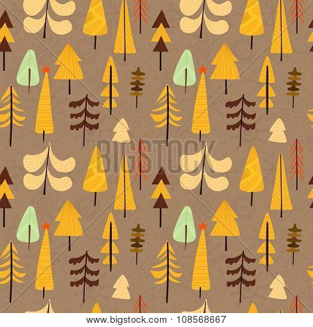 Lovely Christmas Seamless Pattern With X-mas Trees For Winter Holidays Ornaments In Bright Colors. S