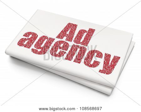 Marketing concept: Ad Agency on Blank Newspaper background
