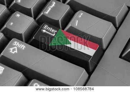 Enter Button With Sudan Flag