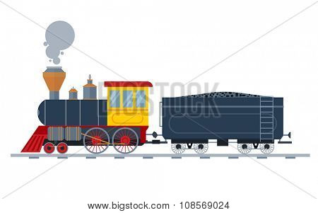 Old vintage retro transportation train vector collection. Trains vector illustration on white background. Trains silhouette isolated on white. Old vintage retro transportation train cargo vector on