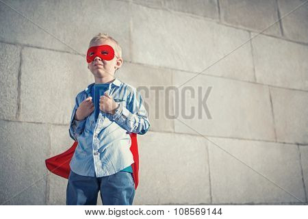 Little boy dressed as Superman
