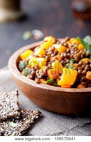 Lentil with carrot and pumpkin ragout