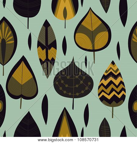 Cute Autumn Background. Retro Cartoon Leafs . Seamless Pattern Can Be Used For Wallpapers, Pattern F
