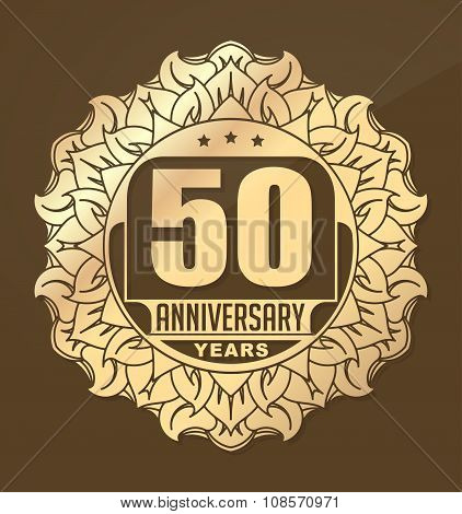 Vintage Anniversary 50 Years Round Emblem In Sun Style.  Retro Styled Vector Decor In Gold Tones On