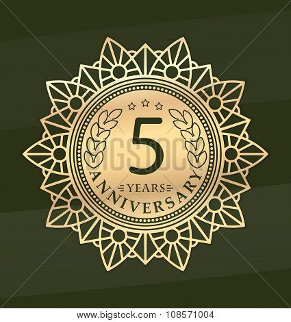 Vintage Anniversary 5 Years Round Emblem. Retro Styled Vector Decor In Gold Tones On Dark Green Back