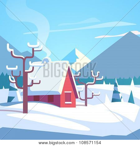 Winter mountains landscape scenic