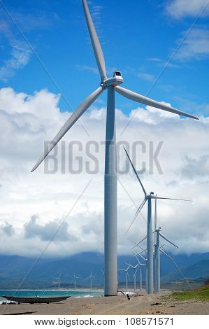 Bangui Wind Farm Windmills in Ilocos Norte, Philippines