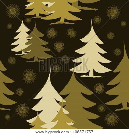 Seamless golden fir trees and stars on brown