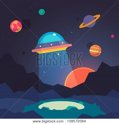 Night alien world landscape and ufo spaceship