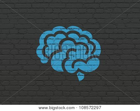 Science concept: Brain on wall background