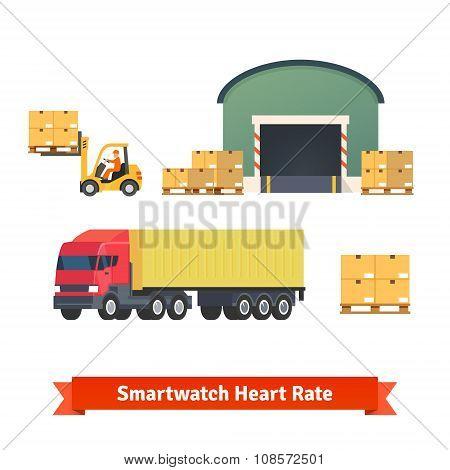 Warehouse, logistics, trailer truck, loading cargo