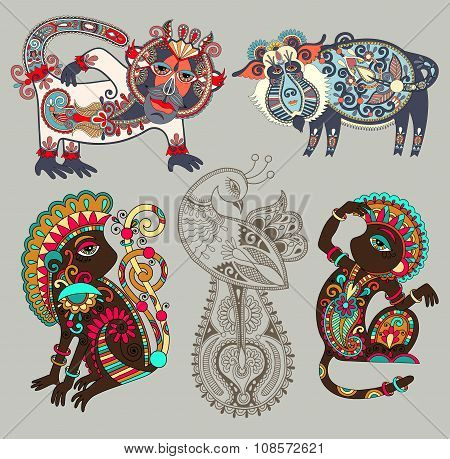decorative ethnic folk animals and bird in Ukrainian traditional