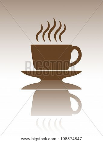 Abstract Vector Decoration With Cup Of Coffee Or Tea With Mirror Reflection