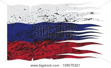 Wavy Russia Flag Grunged