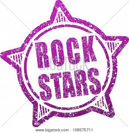 Rock Stars Grunge Design In Rubber Stamp Style.