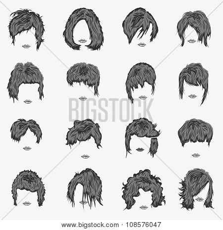 vector set of women hairstyles