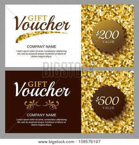 Vector Gift Voucher With Golden Sparkling Pattern.