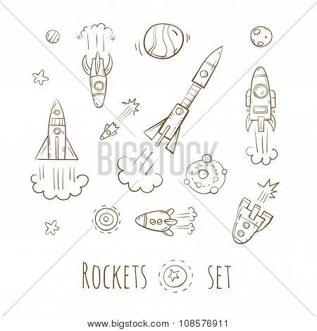 Cartoon Rockets Set.