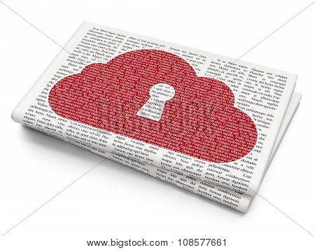 Cloud computing concept: Cloud With Keyhole on Newspaper background